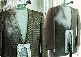 有名アパレルメーカーが導入しているジャケット仕上げ専用マシンで新品の風合い再現